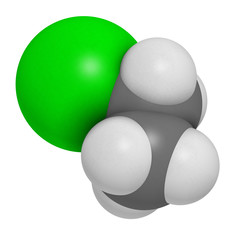 Chloroethane (ethylchloride) molecule.