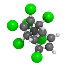 Heptachlor organochlorine pesticide molecule.