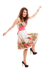 funny woman girl in summer floral dress isolated. Fashion.