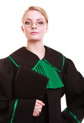 Woman lawyer attorney in classic polish black green gown