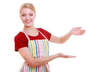 housewife waitress inviting welcome gesture kitchen apron