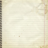 Blank lined paper page from old spiral notebook