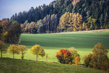 Saxon Switzerland autumn landscape