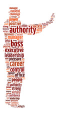 Conceptual words illustration of the authority and power