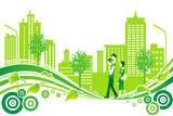 Fototapety Family in City Life, Environment
