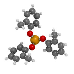 Tricresyl phosphate (TCP) molecule. Used as plasticizer.