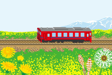 Red train in spring nature