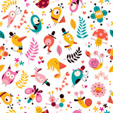 flowers, birds, mushrooms & snails characters nature pattern - 60558132