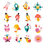 flowers, birds, mushrooms & snails characters set - 60558159