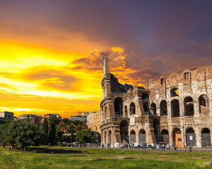 The Roman Coliseum at sunset.