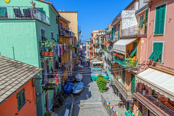 Street in the famous Italian town of Manarola