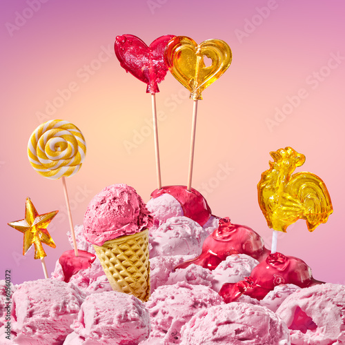 sweet magical landscape with candy heart