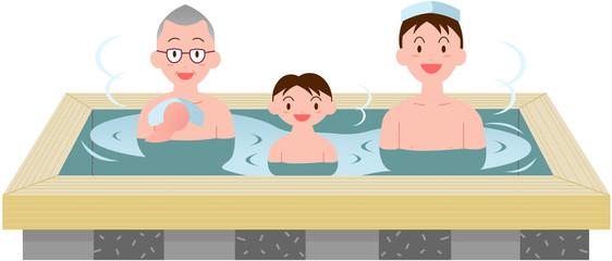 親子三代檜風呂入浴