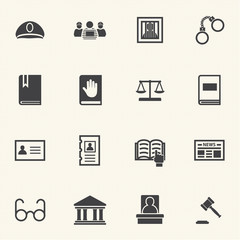 Legal, law and justice icons set with texture background. Vector