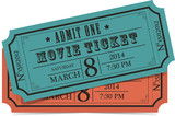 Retro movie vector tickets