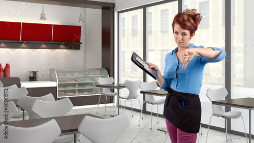 young red head waitress fed up with her job