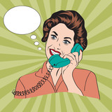 Popart comic retro woman talking by phone poster