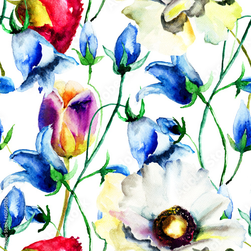 Seamless wallpaper with Colorful Summer flowers - 60561926