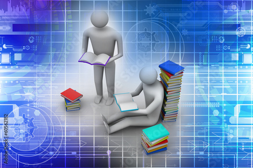 3D people reading book, education concept