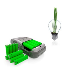 Green power charger aa accu, bulb, and renewable energy sources