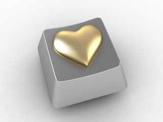 Gold heart shape button