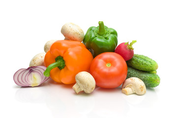 fresh vegetables closeup - white background.