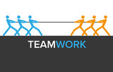 Vector teamwork graphics with two teams