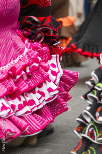 skirts of Spanish Flamenco dancers