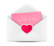 Valentines day card in paper envelope