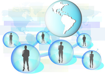 Illustration of business people connected in network with globe