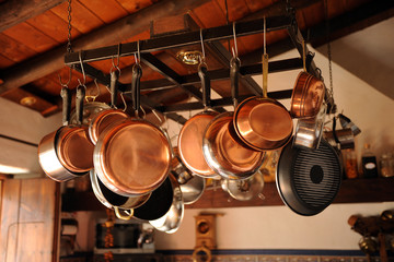 Pans in the kitchen