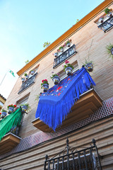 Balcony in Triana, fiesta in Sevilla, Andalucia, Spain