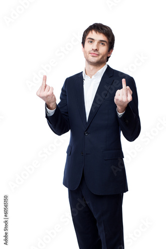 Businessman showing middle finger