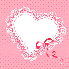 lace heart with ribbon