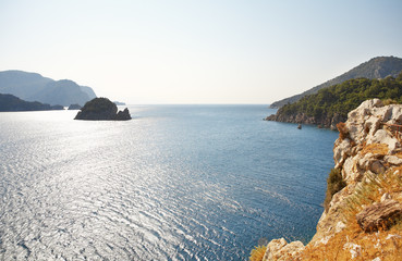 Aegean sea with island. Marmaris. Turkey