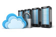 Leinwanddruck Bild - 4 gesicherte Cloud Computing Server, verschlüsselt