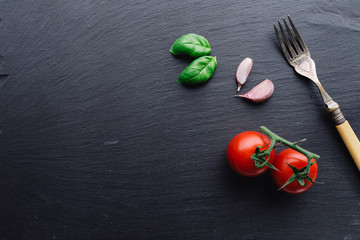 Pasta sauce ingredients concept on black slate