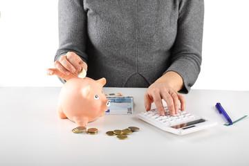Woman counting the savings