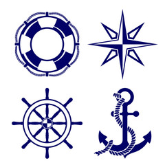 Set of marine symbols  Vector Illustration.