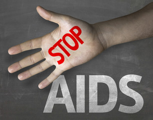 Educational composition with the message Stop Aids
