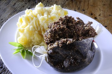 traditional plated haggis meal