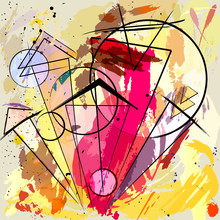 fond abstrait, avec des coups, des éclaboussures, des cercles et triangle