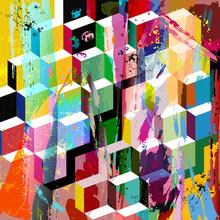 Composition abstraite de fond, avec des coups, projections et geom
