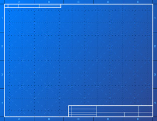 Blank blueprint paper for drafting. Drawing sheet layout