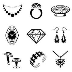 Set of black-white jewelry icons for luxury industry