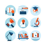 Fototapety Set of flat design icons for knowledge and education