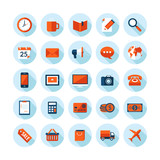 Flat design modern icons set on business theme