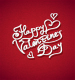 vector  inscription to Valentine's Day to red background