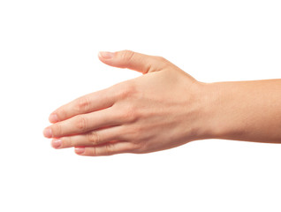 Outstretched human hand isolated