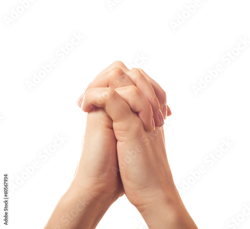 Two pleading human hands isolated